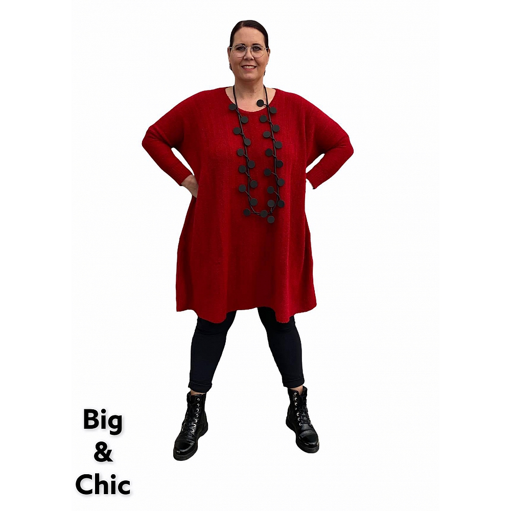 AKH Oversize Long Trui Jurk Rood Grote Maten Mode