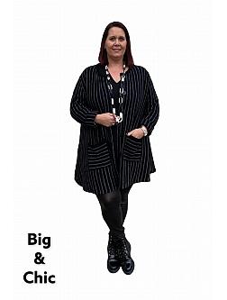 AKH Cardigan-Vest Boucle A-Lijn Zwart-Grijs Strepen