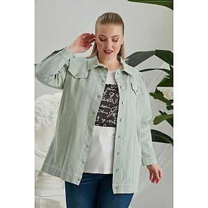 Big en Chic  JEANS JACKET Lang Groen