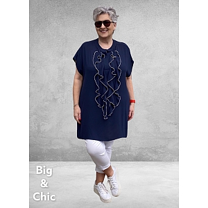 Only-M Blouse/Tuniek Roezel NAVY-WIT Zonder Mouw