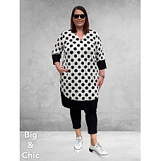OPHILIA Jurk MAY POLKA DOTS Wit-Zwart
