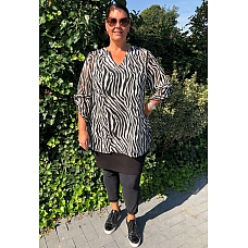 Sybel plus  Blouse Debora  Zebra Zwart/Wit