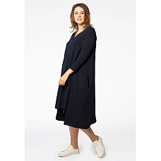 YOEK Jurk  A-Lijn Pointy Cotton Navy